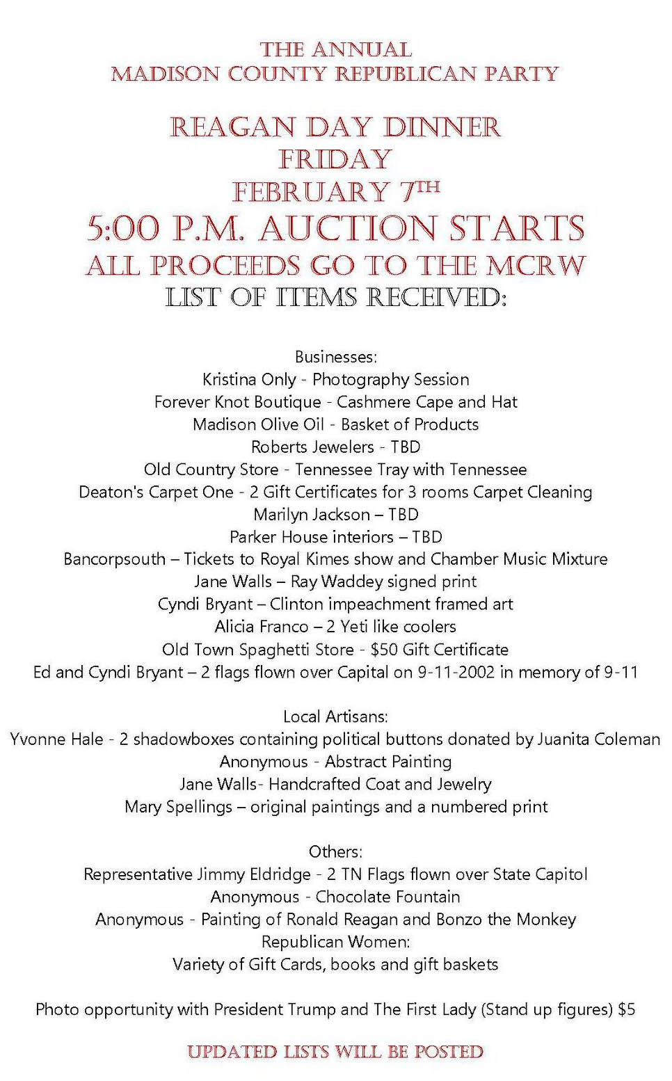 Updated Auction List
